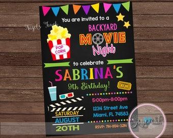 movie party invitation movie night birthday invitation etsy