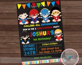 Super Hero Baby Party Invitation Superheroes Babies Birthday Digital File