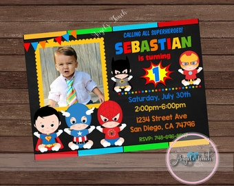 Super Hero Baby Party Invitation Superheroes Babies Birthday With Photo Digital File