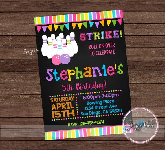 Bowling party invitation girl bowling birthday invitation etsy image 0 filmwisefo