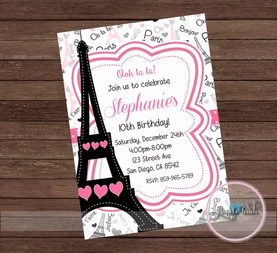 Paris party invitation paris birthday party invitation paris etsy image 0 filmwisefo