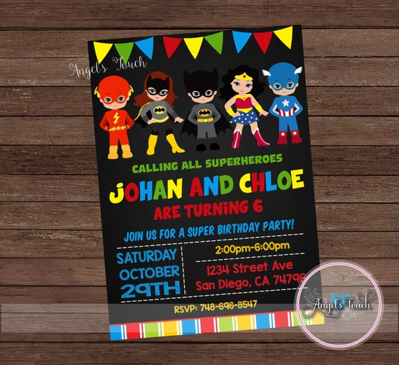 super hero party invitation superheroes birthday invitation etsy