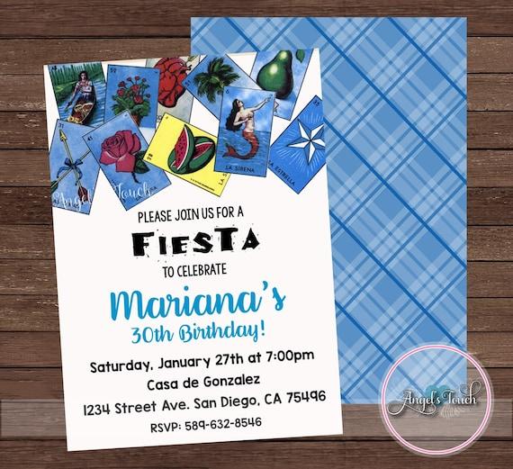 Fiesta Party Invitation Fiesta Birthday Invitation Loteria