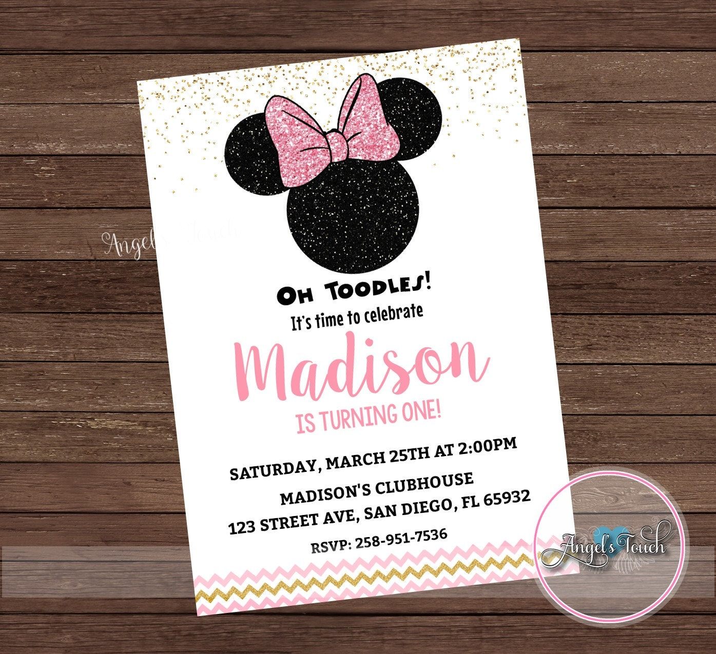 Minnie Mouse Party Invitation Minnie Mouse Pink Gold and | Etsy