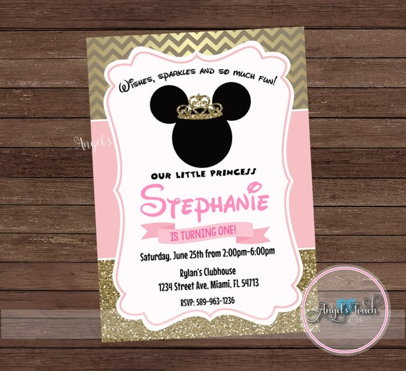 minnie mouse party invitation minnie mouse pink gold etsy