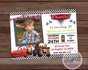Cars Party Invitation, Disney Cars Birthday Invitation, Cars Birthday Party Invitation with Photo, Cars Chalkboard Invitation, Digital File