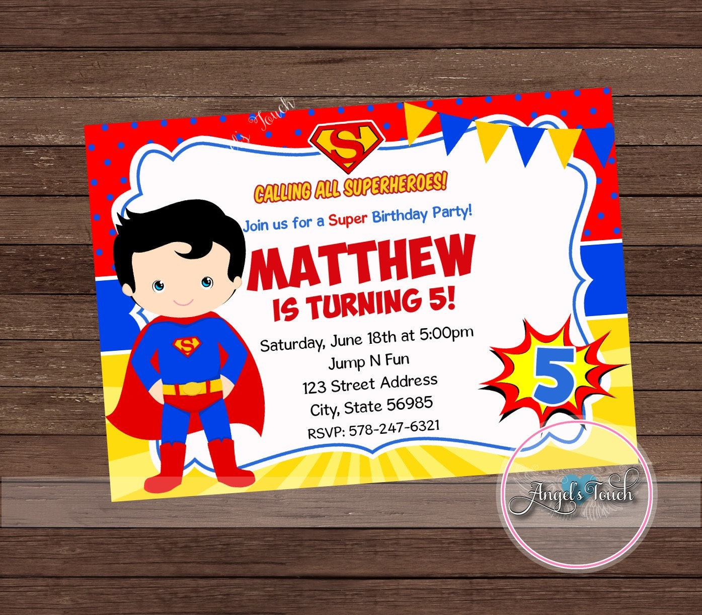 Superhero Superman Party Invitation Superman Invitation | Etsy