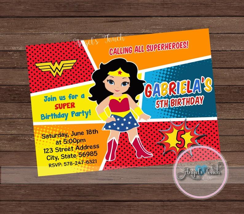 Wonder Woman Party Invitation WW Party Invitation Wonder Woman Wonder Woman Invitation Wonder Woman Birthday Invitation Digital File.