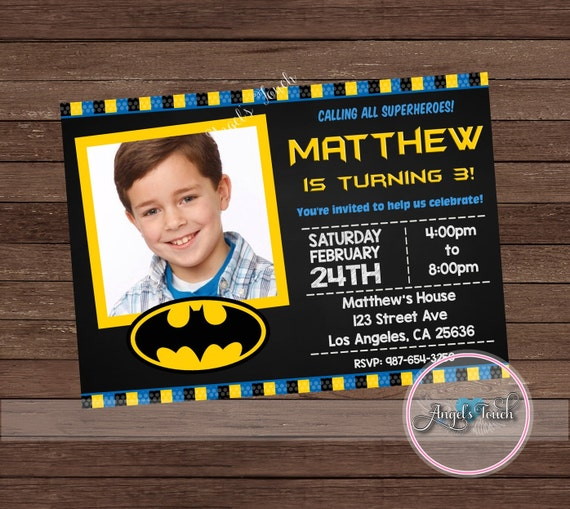 batman party invitation batman birthday invitation with etsy