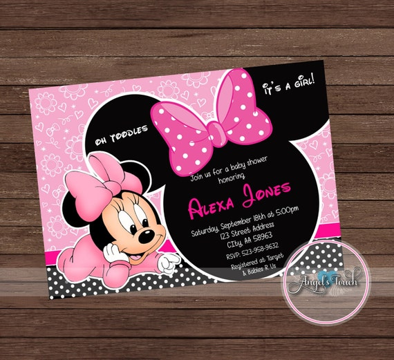 Minnie Mouse Baby Shower Invitation Minnie Mouse Baby Shower Etsy