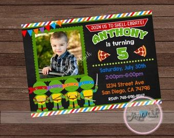 Ninja Turtles Invitation, Ninja Turtles Birthday Party Invitation with Photo, Ninja Turtles Invitation with Photo, Digital File.