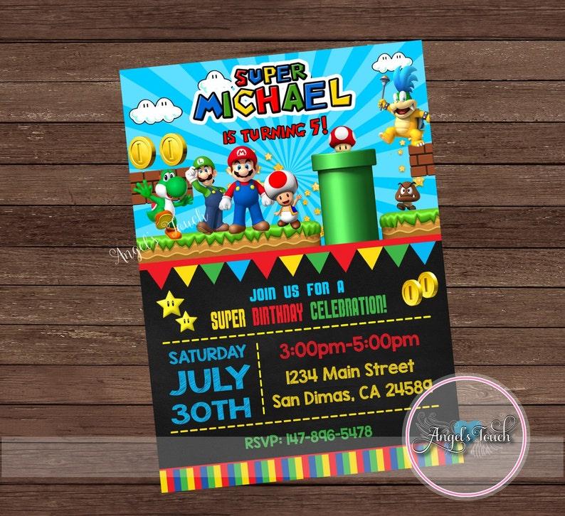 Super Mario Party Invitation Super Mario Birthday Invitation Etsy
