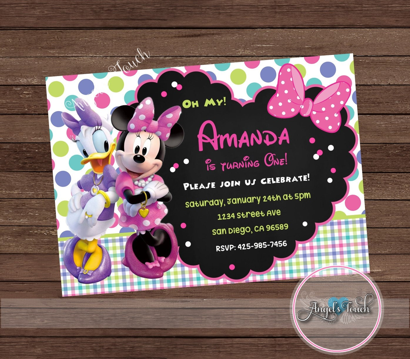 Minnie Mouse And Daisy Duck Party Invitation