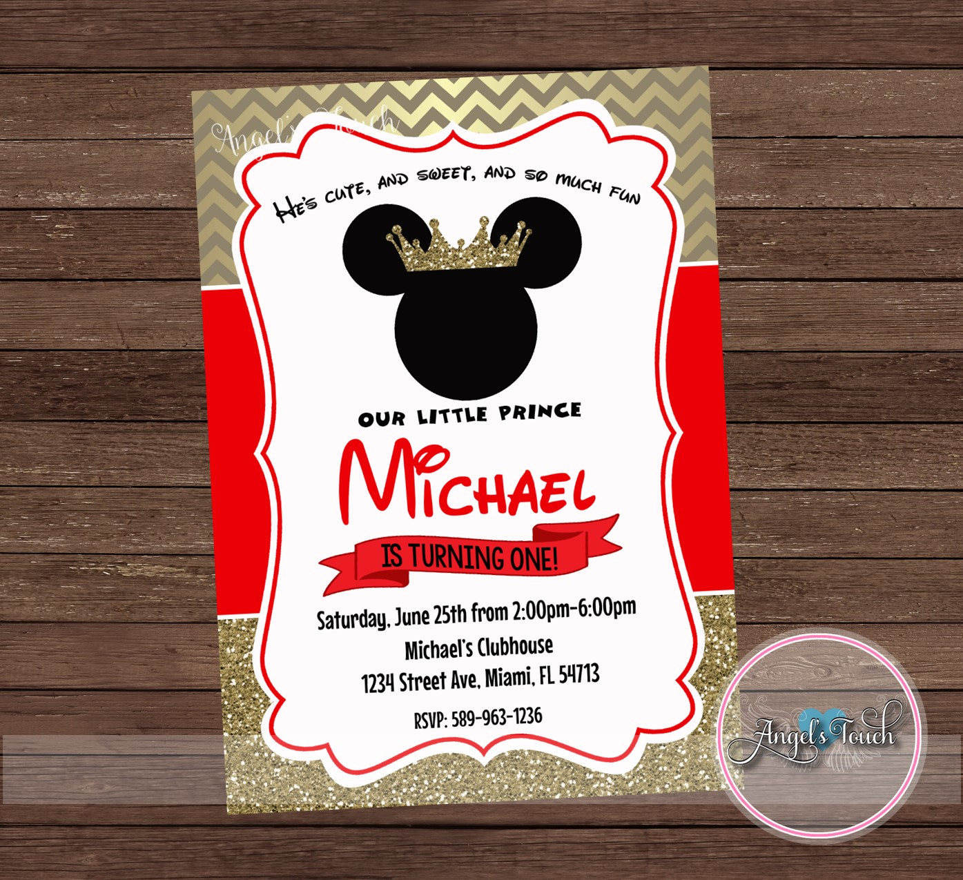 Mickey Mouse Party Invitation Mickey Mouse Prince Royal Red | Etsy