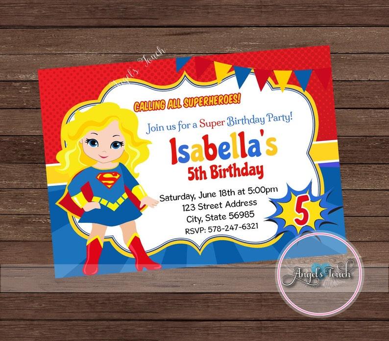 Superhero Girl Invitation Super Girl Birthday Invitation Digital File Super Girl Invitation Superhero Super Girl Party Invitation