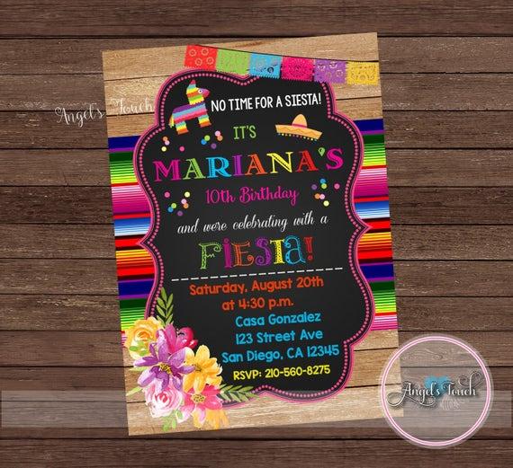 Fiesta Invitation Fiesta Birthday Party Invitation Mexican Fiesta