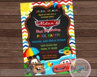 Cars Pool Party Invitation, Disney Cars Birthday Invitation, Cars Birthday Party Invitation,Disney Cars Pool Party Invitation, Digital File