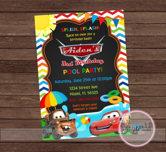 Cars Pool Party Invitation Disney Cars Birthday Invitation Etsy