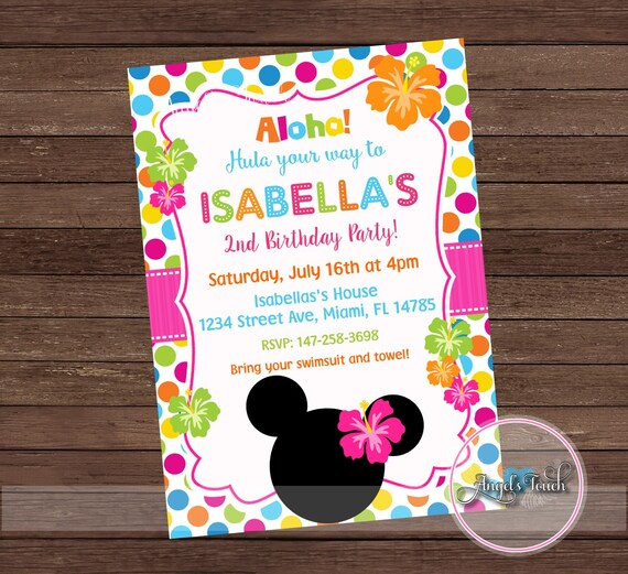 Minnie Mouse Luau Party Invitation Hawaiian