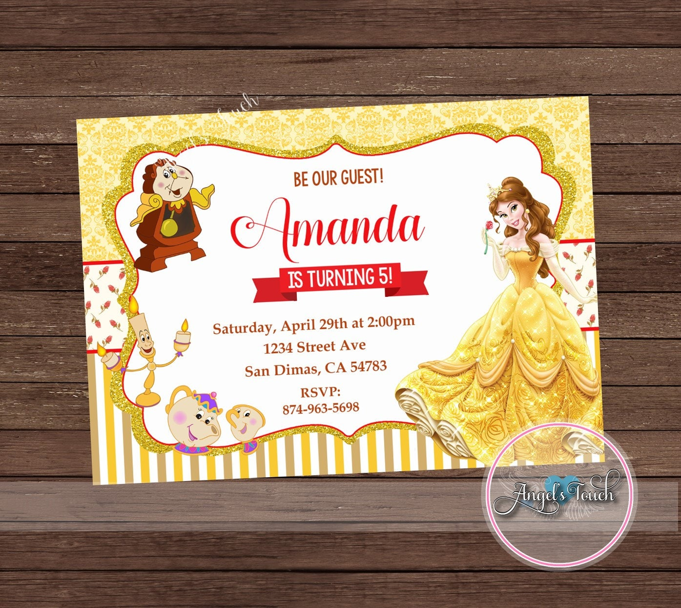 Princess Belle Party Invitation, Princess Belle Birthday Invitation ...