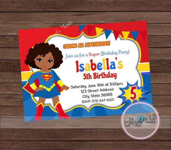 Super Girl Party Invitation African American Supergirl Etsy