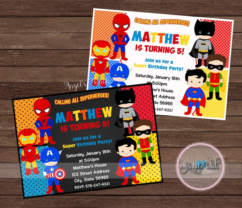 Superhero Party Invitation Superheroes Birthday