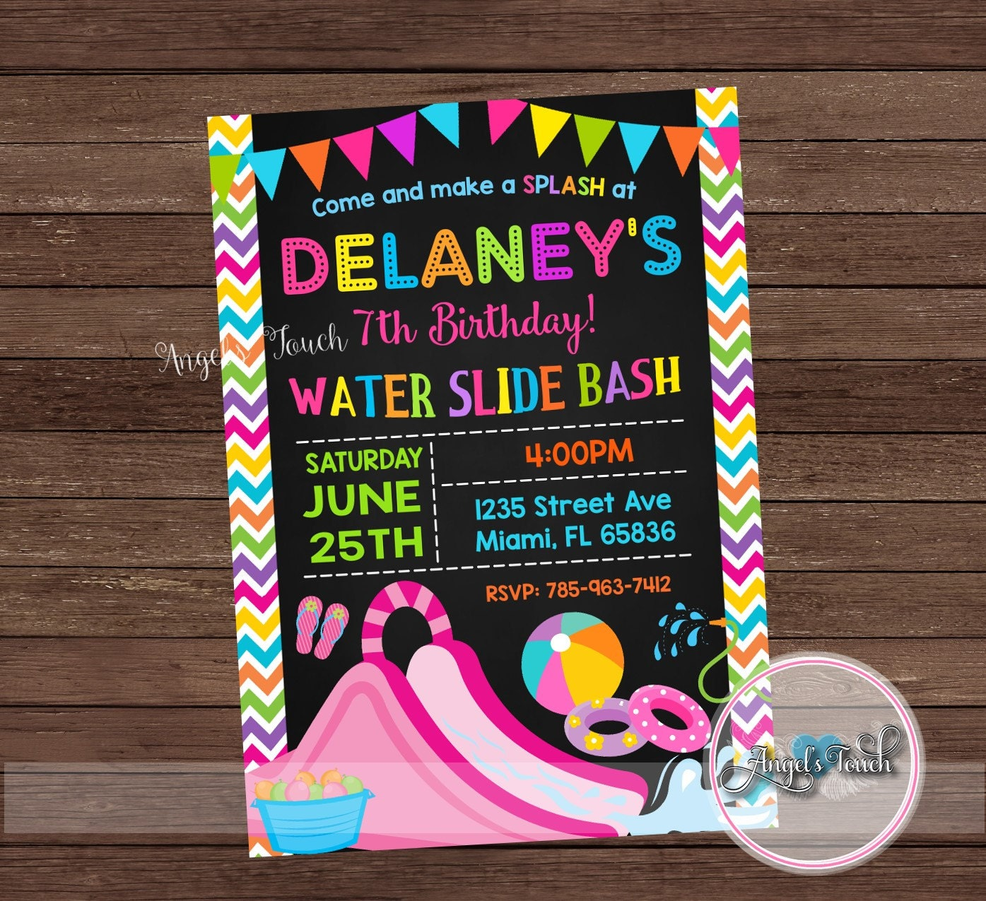 Water Slide Party Invitation Waterslide Birthday Invitation
