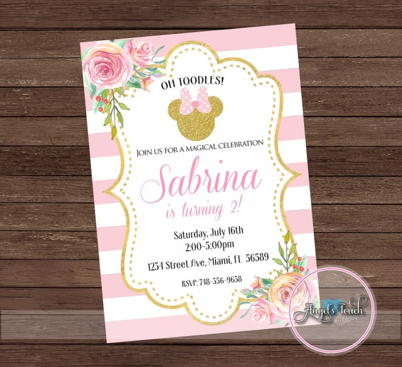 minnie mouse party invitation minnie mouse pink and gold etsy