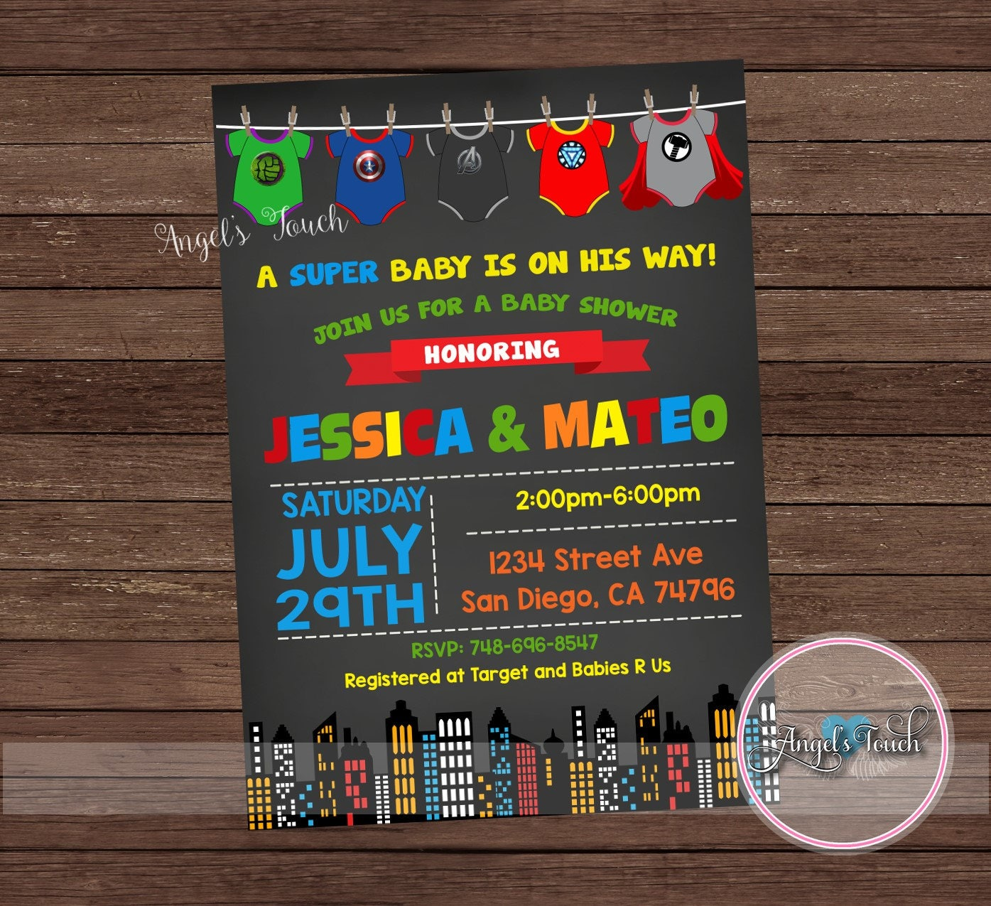 Superhero Baby Shower Invitation, The Avengers Baby Shower ...