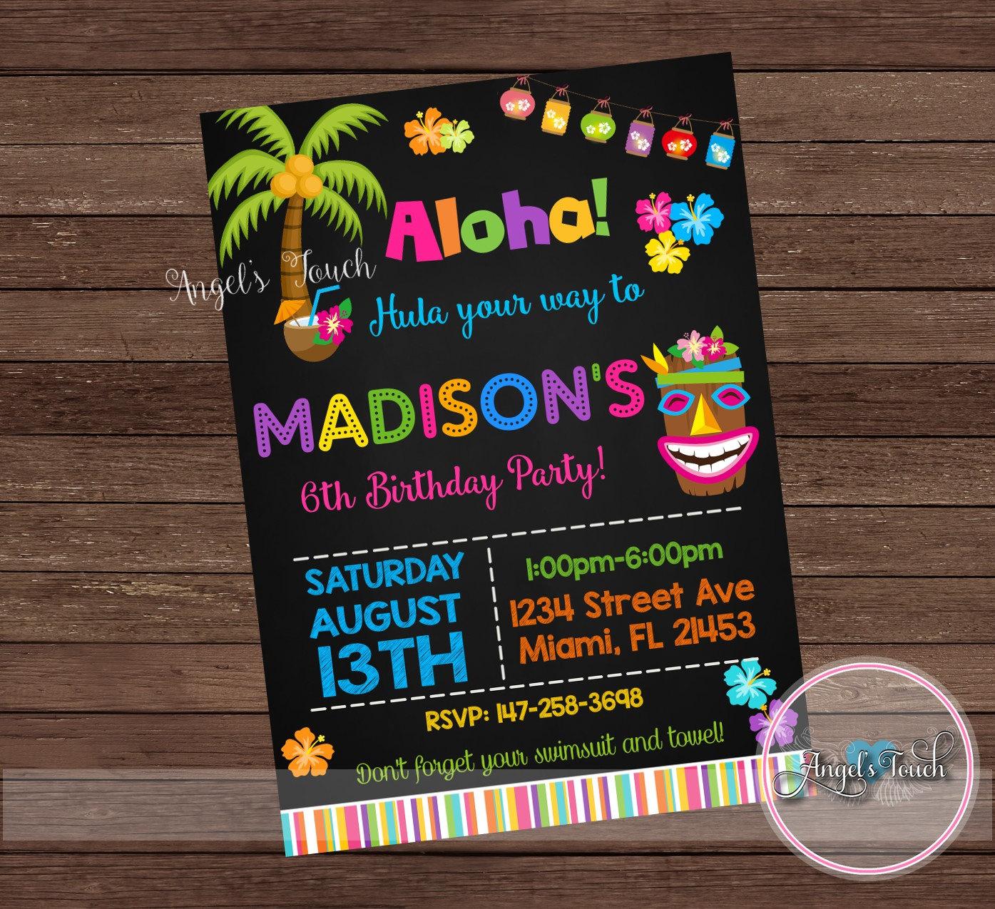 Luau Party Invitation Birthday Chalk