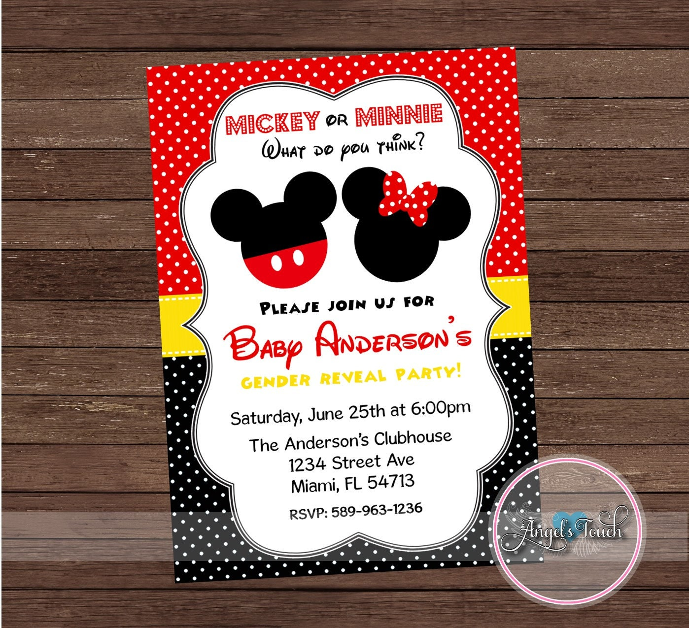 Mickey and Minnie Mouse Gender Reveal Party Invitation | Etsy