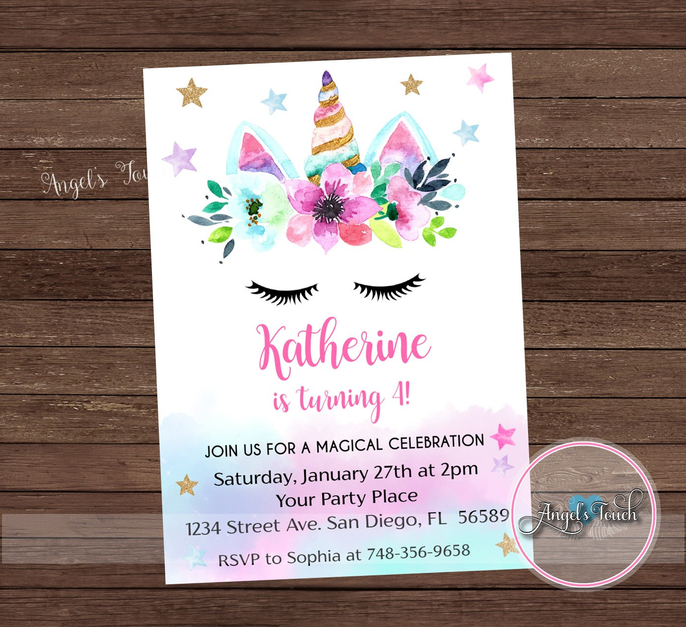 Unicorn Party Invitation Rainbow Unicorn Birthday Party | Etsy