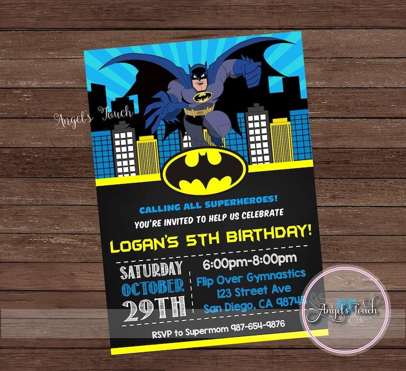 Batman Party Invitation Batman Birthday Invitation Batman Etsy