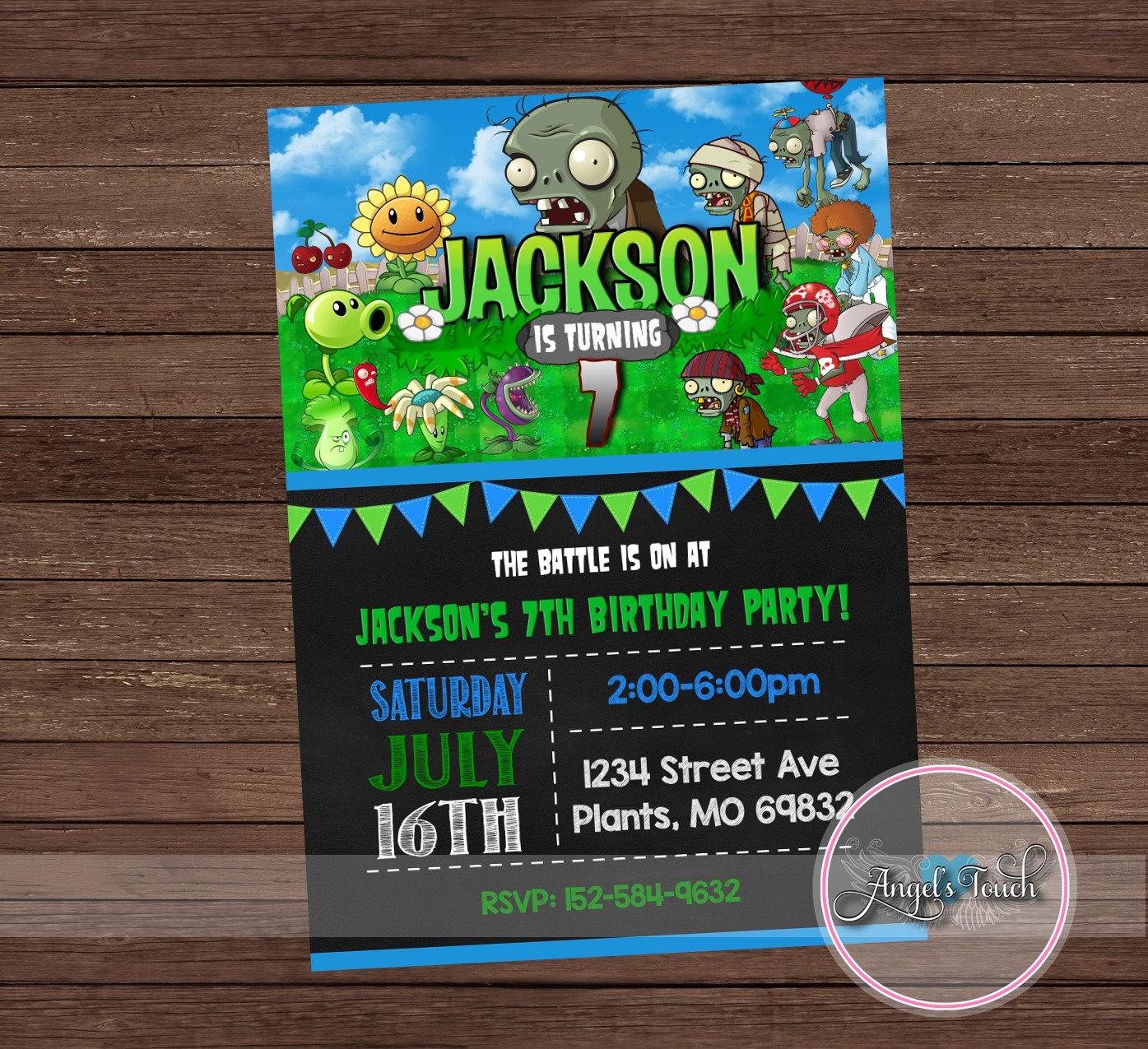 Plants vs Zombies Invitation Plants vs Zombies Birthday Party Etsy