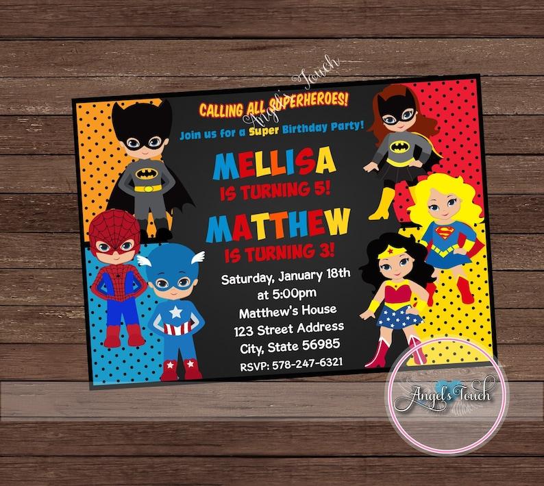 Super Hero Party Invitation Superheroes Birthday