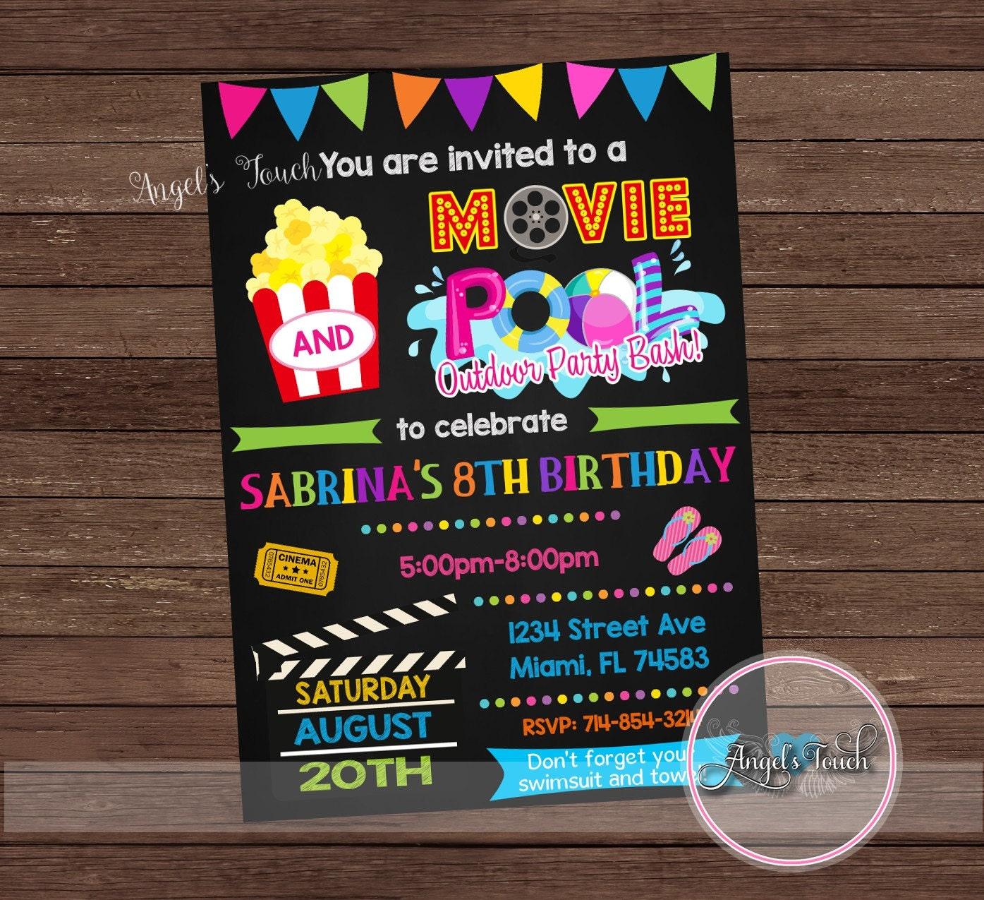 movie and pool party invitation movie night party invitation etsy