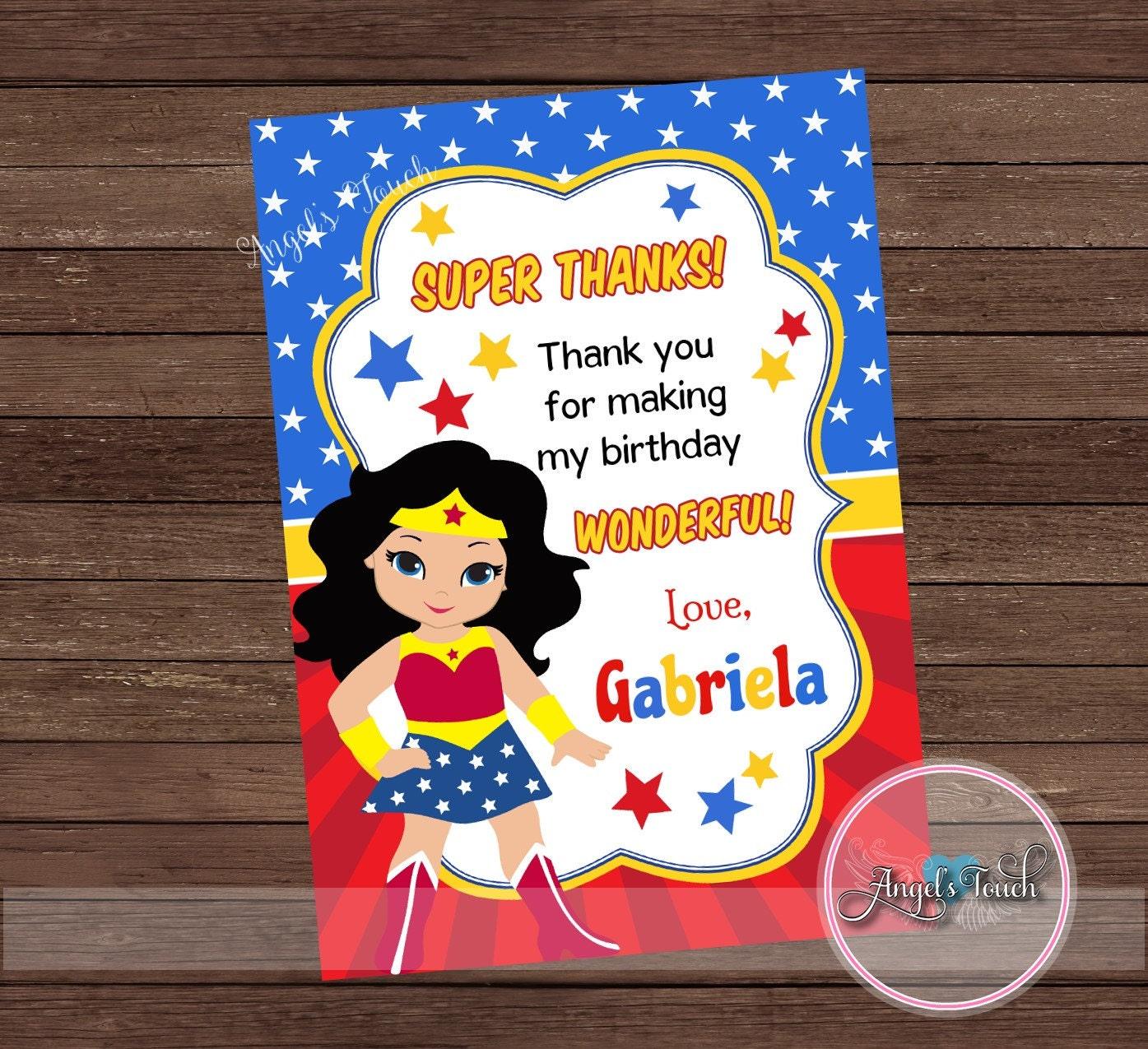 Wonder Woman Thank You Card Wonder Woman Thank You Note Etsy