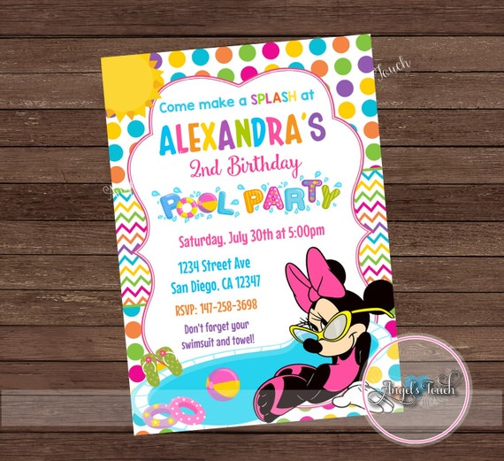 Minnie Mouse Pool Party Invitation Birthday
