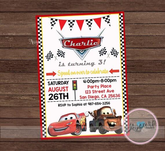 cars party invitation cars birthday invitation cars birthday etsy