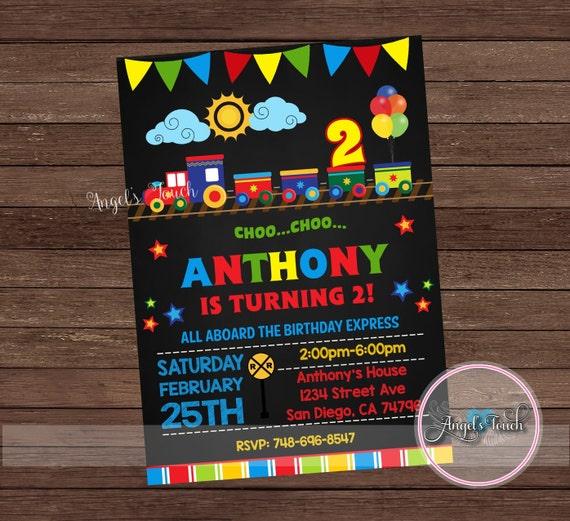 Train Party Invitation Choo Birthday