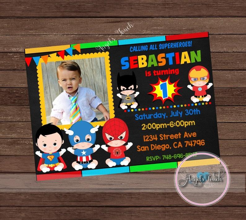 Super Hero Baby Party Invitation Superheroes Babies Birthday
