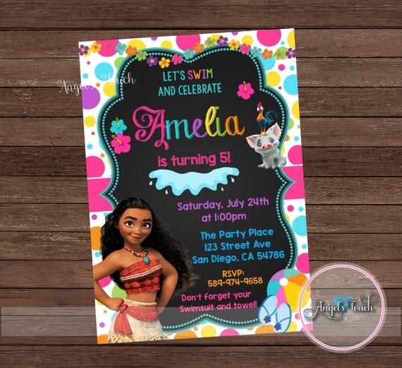 Princess Moana Pool Party Invitation