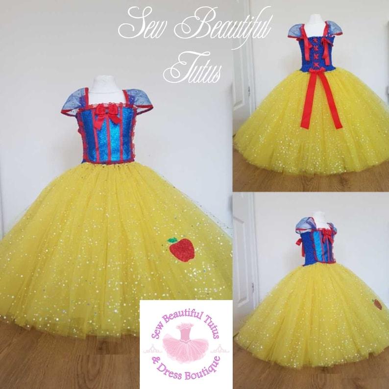 Snow White Sparkle Sparkle Ball Gown Girl tutu dress Mermaid Sea Fun Party Outfit Cute Birthday Photo Shoot Princess Fairy Tale