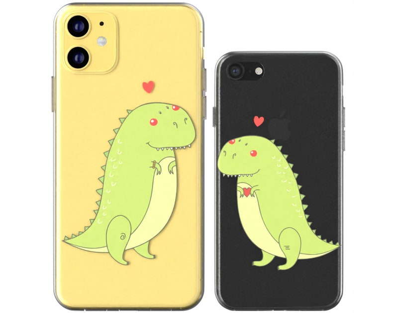 Dinosaurs in love phone Xs clear cover Cute couple cases tpu iphone X case iphone 8 plus iphone 12 case Apple SE silicone iphone 11 Pro Max
