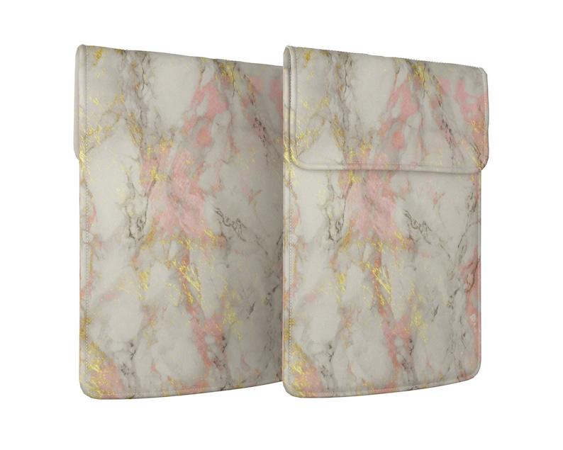 Cute marble Macbook sleeve bag Powder pink Stone tablet sleeve 13 in Macbook Air cover PU leather case Universal laptop bag Pro 2020 14 17