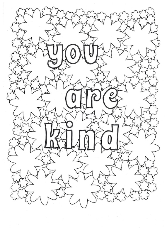 You Are Kind Coloring Page Etsy