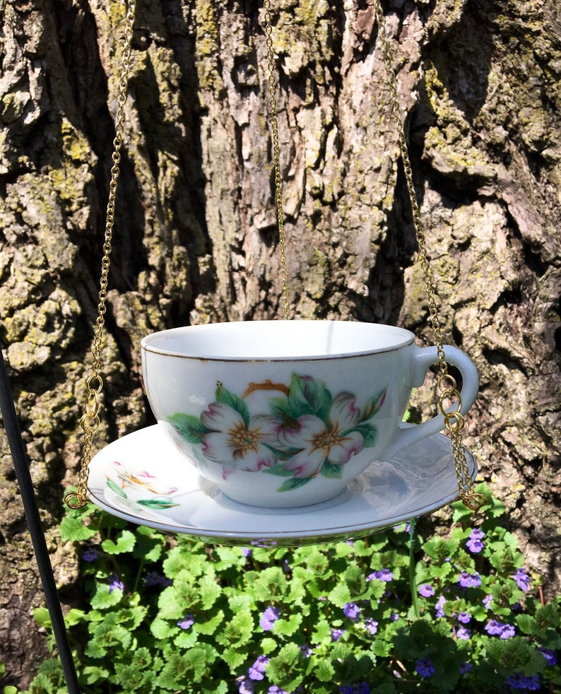 Upcycled Vintage Dogwood Blossom Hanging Teacup Bird Feeder