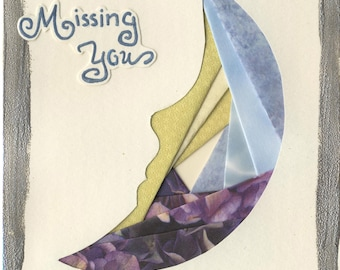 Handcrafted Greeting Card - Missing You Moon