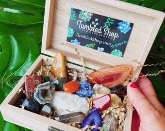 Crystal Box Various crystals aligned personalized box, mix of natural and tumbled pieces
