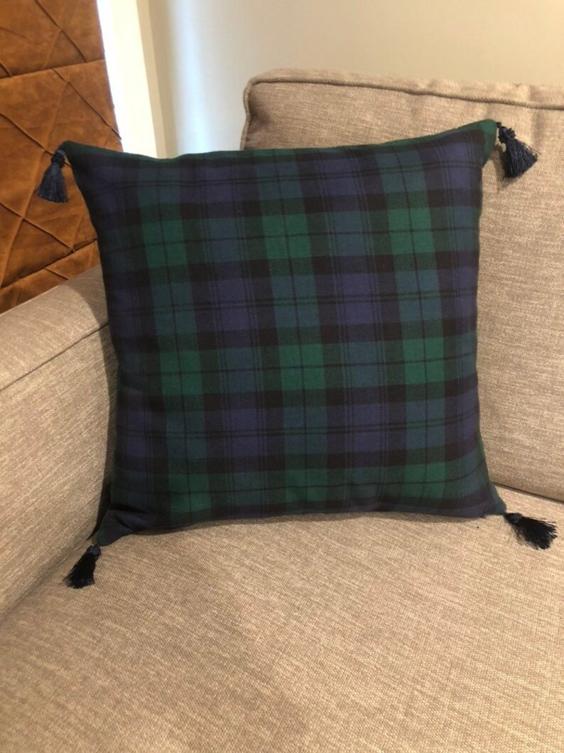 ee15ed840c Black watch plaid pillow cover